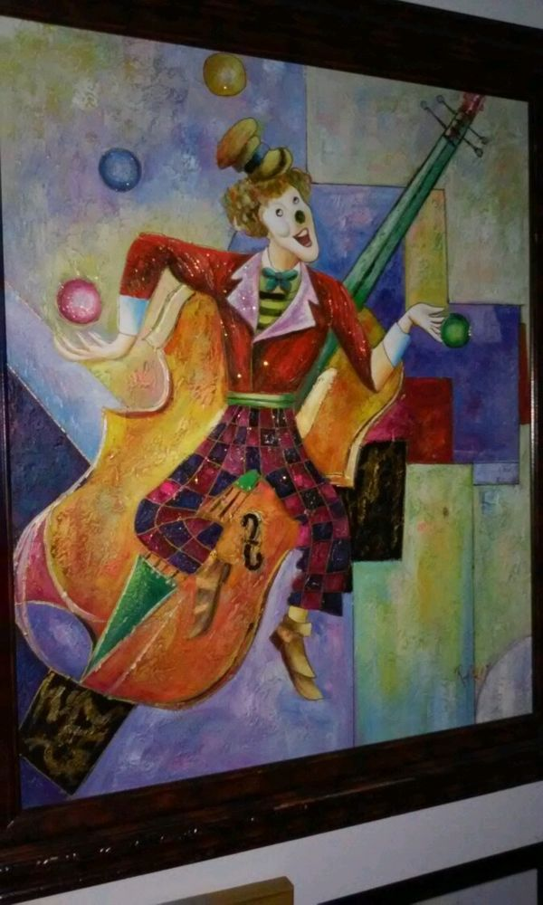 CLOWN AND GUITAR BEAUTIFUL: Oil painting signed by R HiLLEy #ART