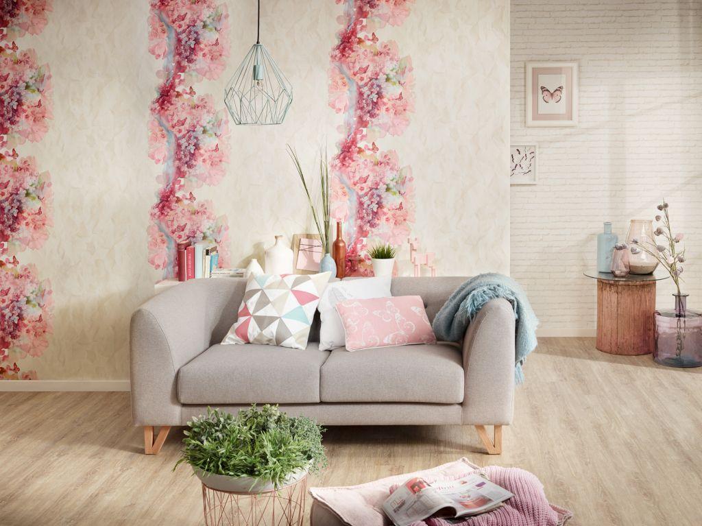Wohnzimmer Altrosa ~ Für mehr romantik im wohnzimmer u c tapete mit rosa blümchen
