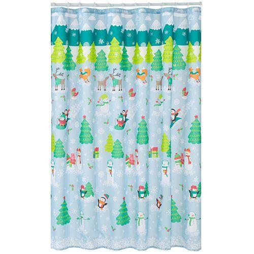 St Nicholas Square Oh What Fun Snowman Scenic Fabric Shower
