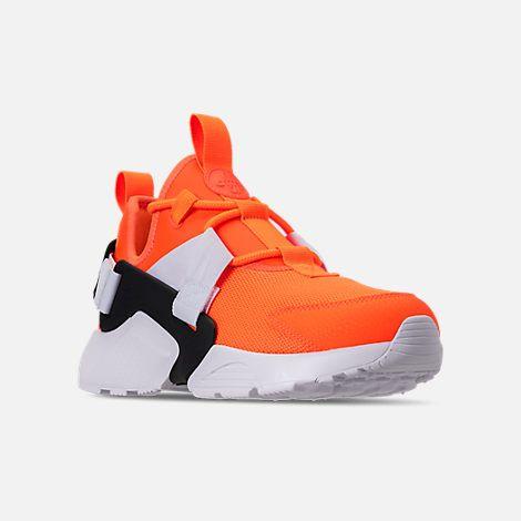 7a6368e97e11 Three Quarter view of Women s Nike Air Huarache City Low Premium Casual  Shoes in Total Orange White Black
