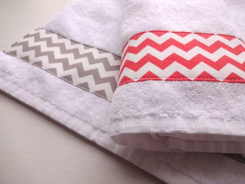 Coral Grey Chevron And Towel Set Set Of 2 Hand Towel Coral