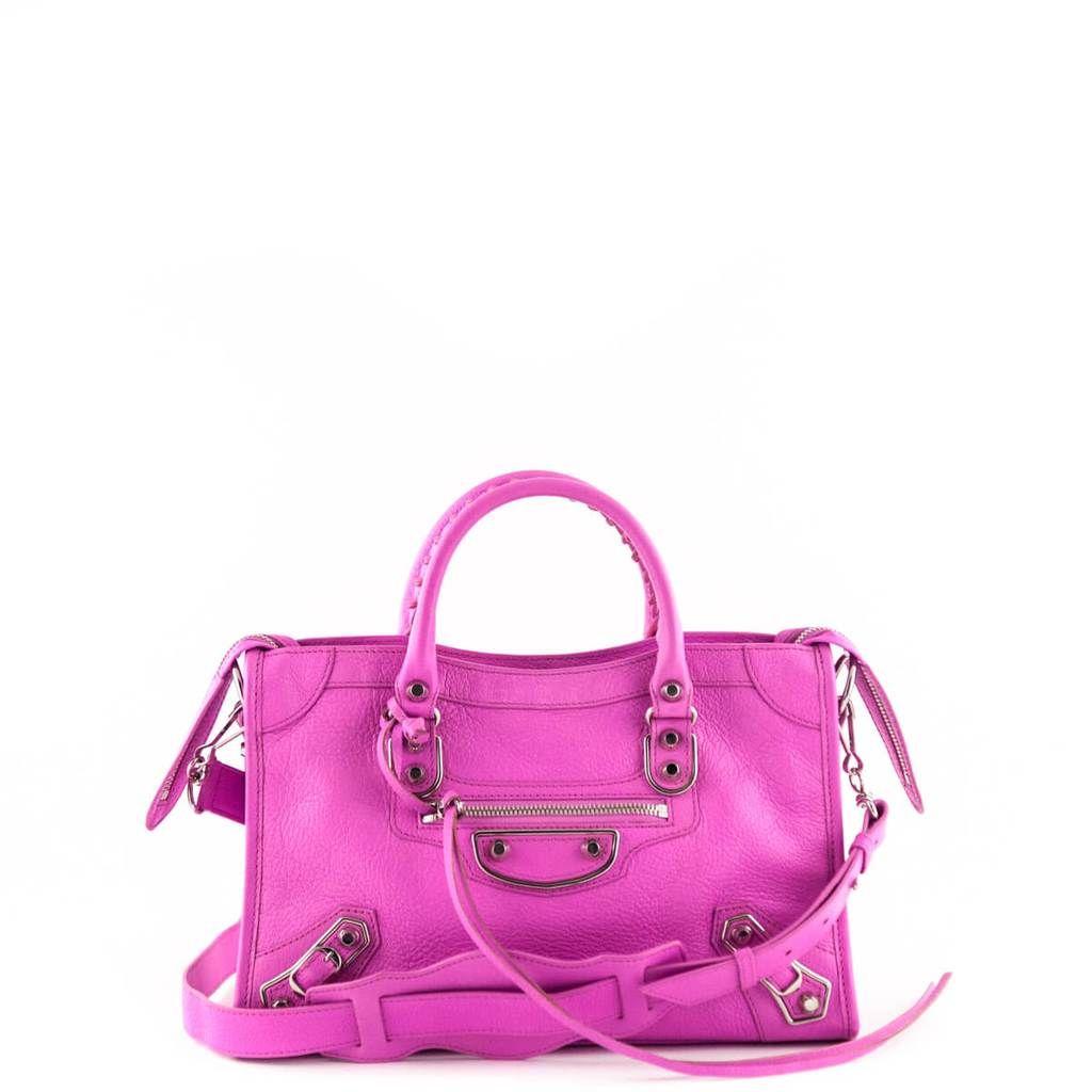 Balenciaga Rose Fluo Chevre Mini City Edge Bag Love That Bag