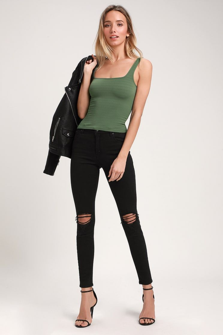 51ea90909b70c2 Square One Olive Green Seamless Tank Top in 2019