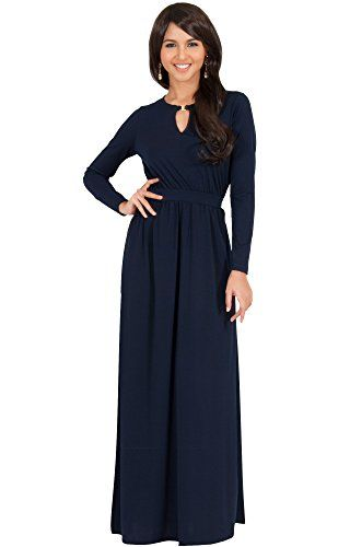 27967bf9f75d3 KOH KOH Womens Long Sleeve Modest Flowy Summer Sexy Gown Cocktail Winter  Fall Pleated Designer Office Wear to Work Semi Formal Maxi Dress Color Navy  Blue ...