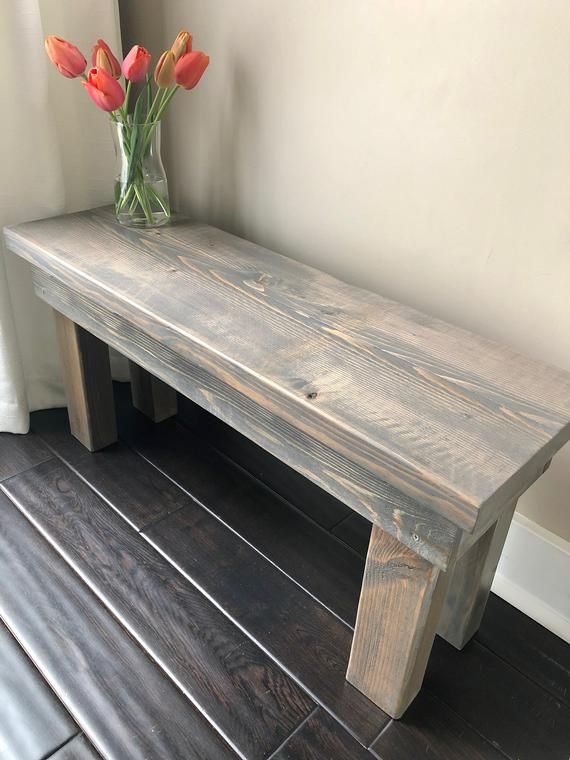 Wondrous Gray Wood Bench Small Rustic Bench 3 Feet Bench Mudroom Pabps2019 Chair Design Images Pabps2019Com