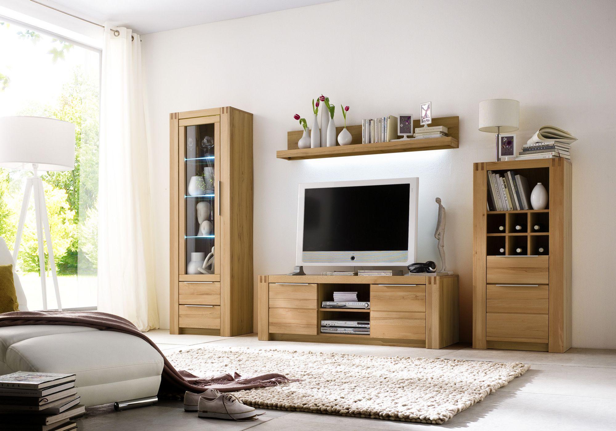 Kernbuche Wohnzimmer ~ Wohnwand kernbuche teilmassiv woody melamin modern jetzt