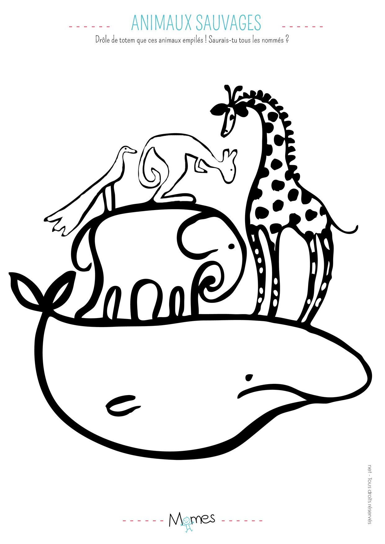 Coloriage Animaux Totem.Coloriage Animaux Sauvage Decoration Coloriage Animaux Animaux