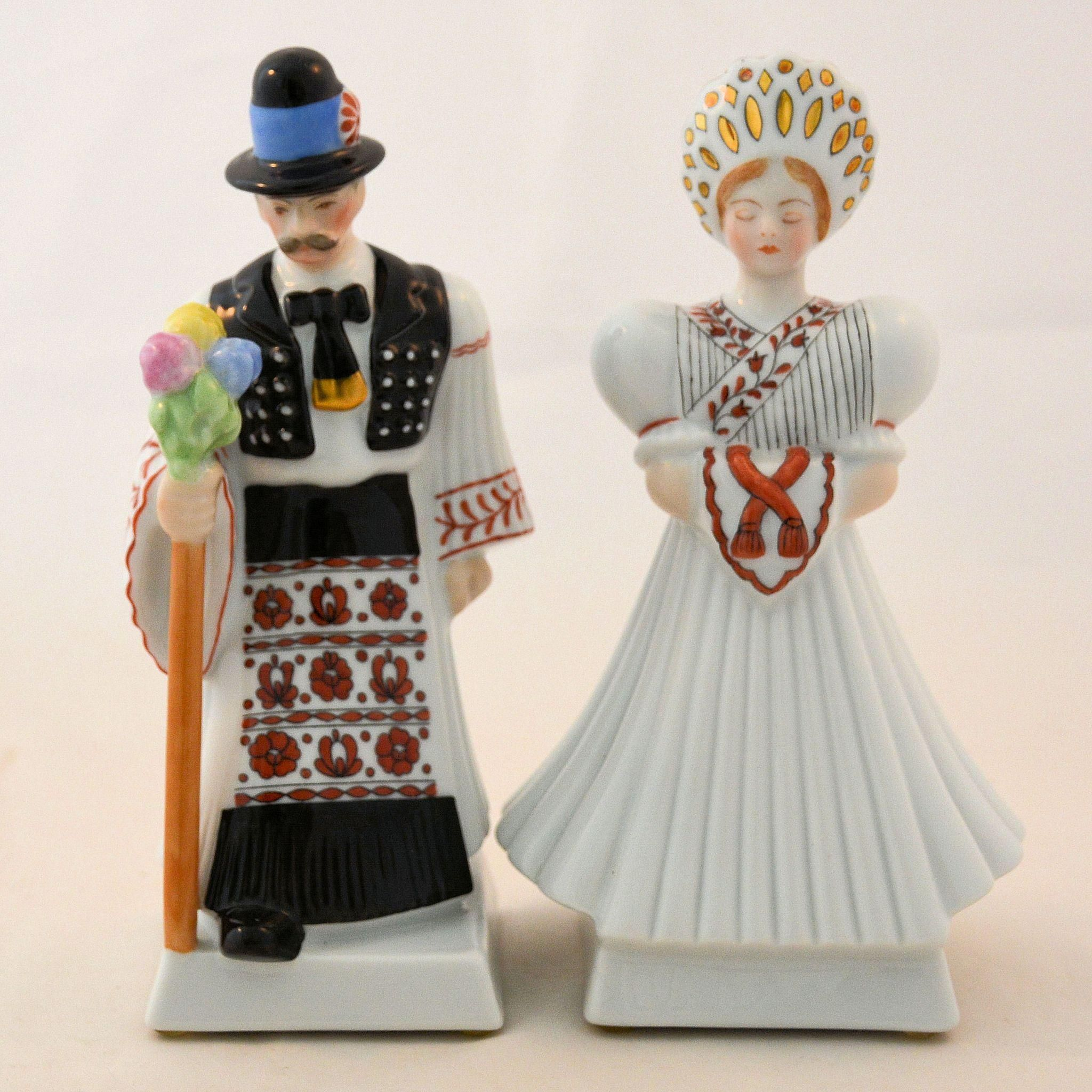 Pair Herend Hungary Porcelain Figurines Wedding Party