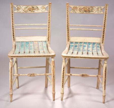 paint decorated fancy side chairs attributed to samuel gragg