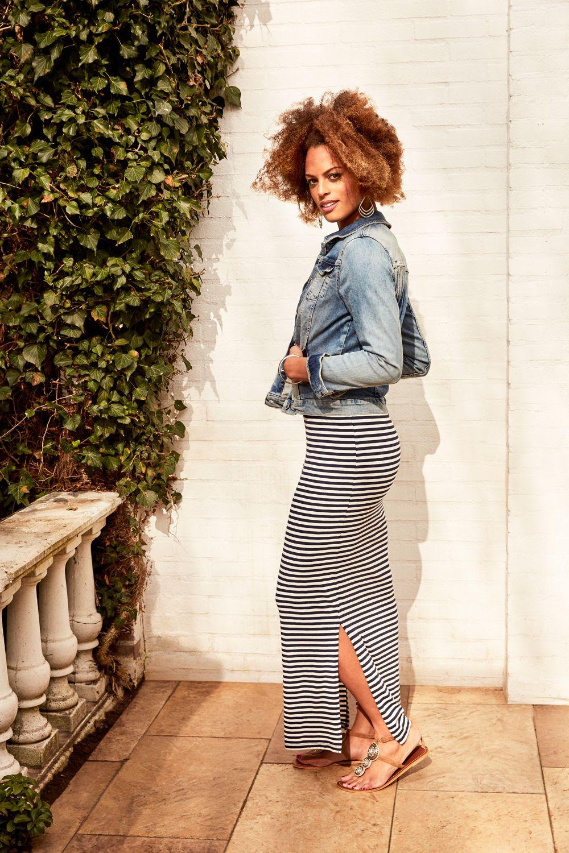 Beste Blauw-wit gestreepte maxi jurk met korte mouwen en een ronde hals XA-95