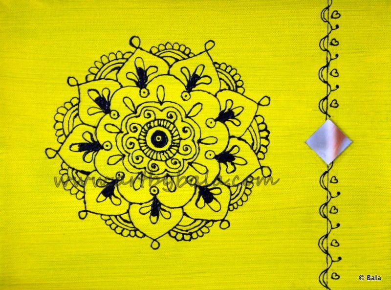 "Mandala, 2012. 11"" x 14"", Textured henna style acrylics mandala painting on canvas with mirror. © Bala Thiagarajan, 2012. www.artbybala.com"