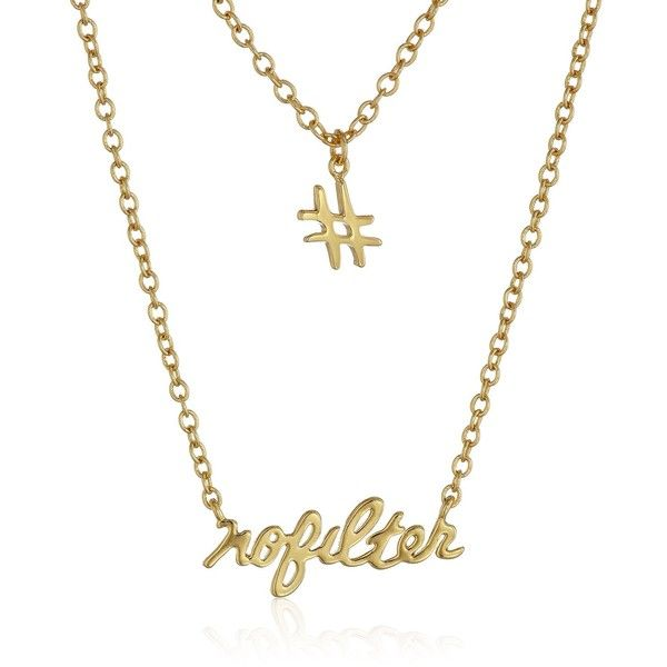 """gorjana """"Sassy"""" No Filter Hashtag Chain Necklace ($85) ❤ liked on Polyvore featuring jewelry, necklaces, gorjana jewelry, chain necklace, chains jewelry, gorjana necklace and gorjana"""