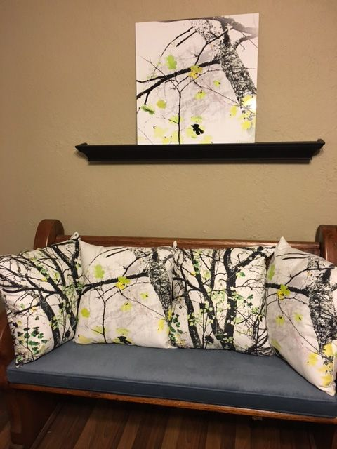 """Trees Growing in Silo Abstract 20x20"""" inch signature edition print and matching throw pillows below from Fine Art America ."""