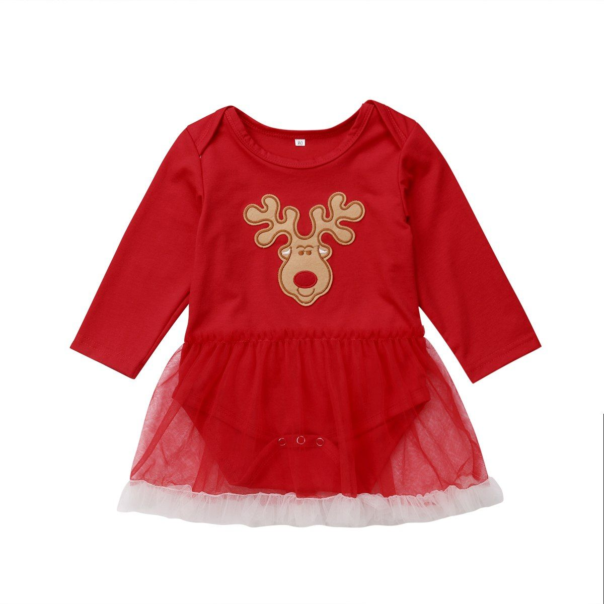c1ffda571c8b2 Casual Newborn Infant Baby Girls Long Sleeve Cotton Red Lace ...
