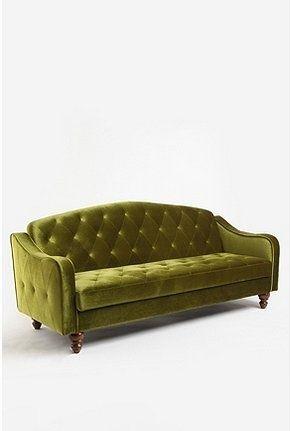Velvet Tufted Sofa Chartreuse