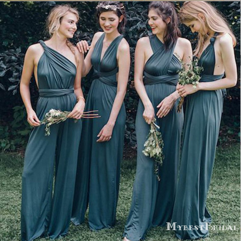 V-neck Backless Blue Bridesmaid Jumpsuit,Cheap Bridesmaid Dresses,WGY0349 V-neck...  #backless #bridesmaid #cheap #dresses #jumpsuit #wgy0349 #bridesmaidjumpsuits