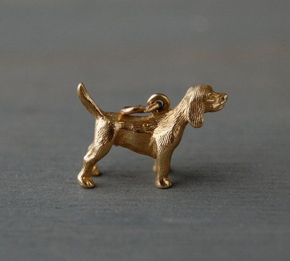 Reserved Vintage 3d 14k Yellow Gold Beagle Dog Charm Pendant