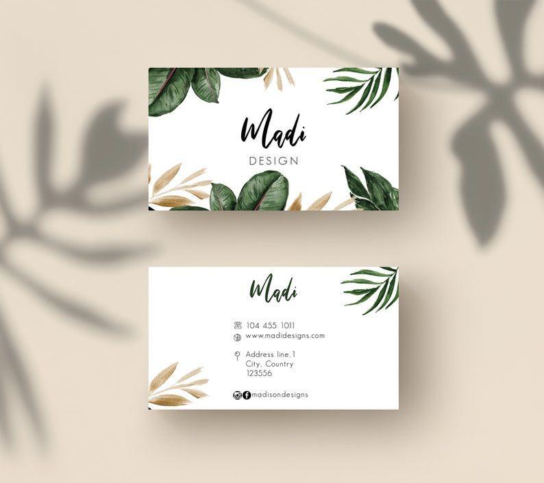 Tropical Business Cards Palm Tree Cards Custom Business Card Template Editable Contact Card Business Branding Matching Logo Dizajn Karty Shablony Vizitok Vizitki Fotografa