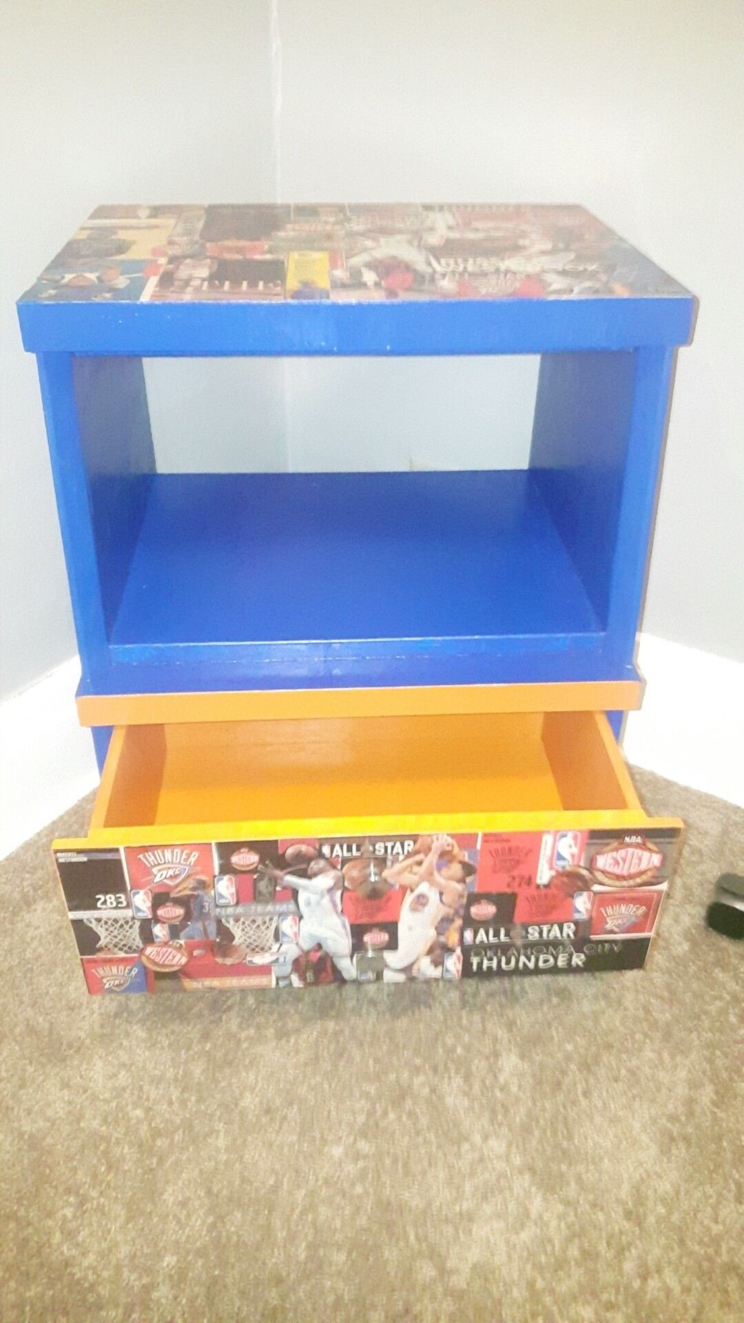 Refurbished TV Stand NBA Kids Russell Westbrook OKC Oklahoma Thunder Theme