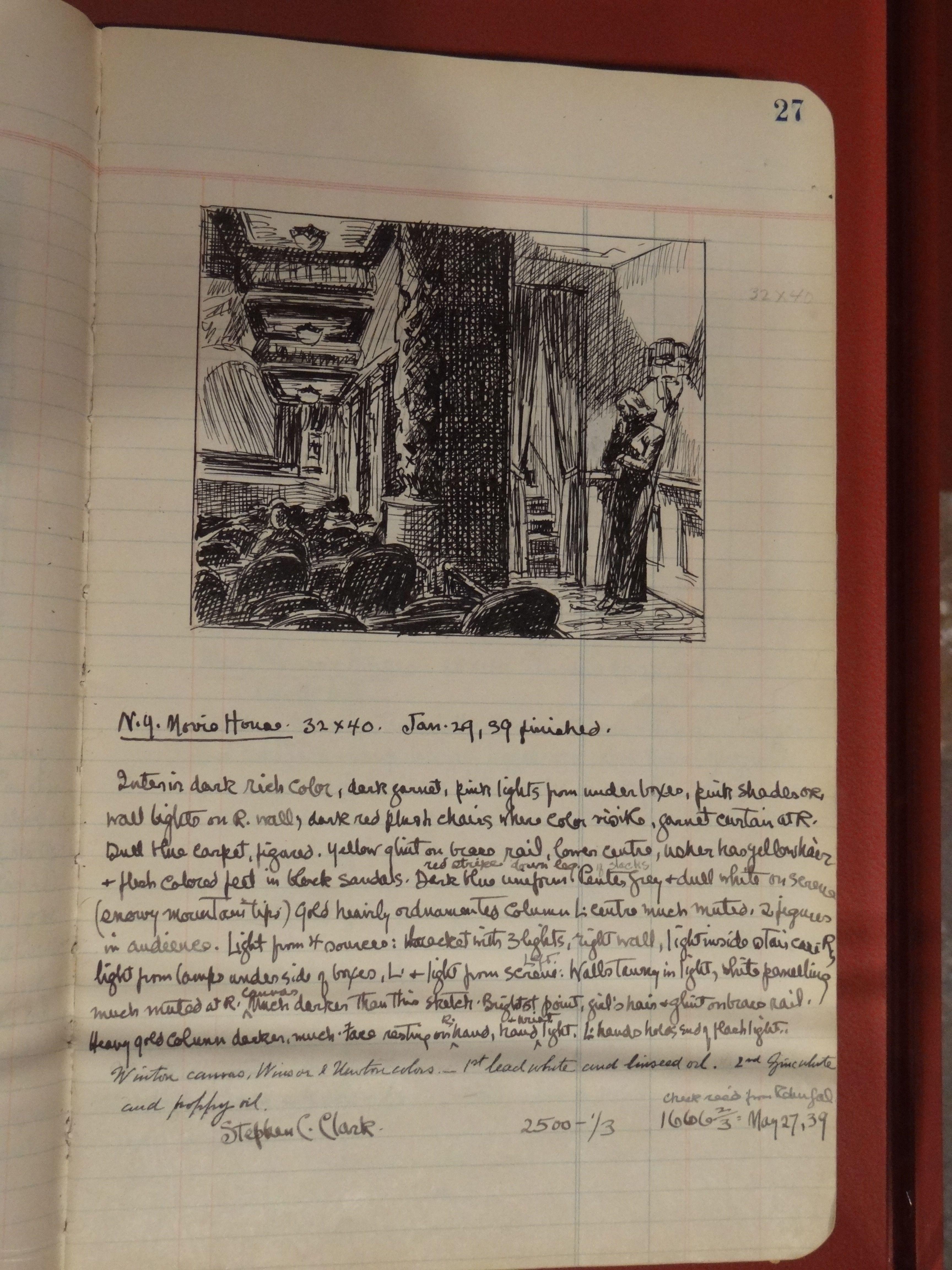 Edward Hopper notebook, New York Movie, Jan. 29 1939