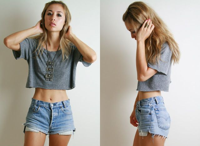 Crop top and high waisted shorts, Crop
