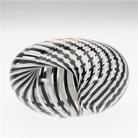Paul d harrie art glass paperweight striped folded black and white