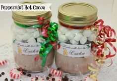 Peppermint Hot Cocoa Jar Ingredients: 1/2 cup Rich Milk Chocolate Flavor NESTLÉ Hot Cocoa Mix 2 Tbsp. crushed starlight mints 1 oz. BAKER'S Semi-Sweet Chocolate, chopped 1/2 cup JET-PUFFED Miniature Marshmallows Mason or other jar Directions: Layer ingredients in clean 1-1/2 cup jar with hinged lid. Seal jar, then attach preparation directions. (we used a …