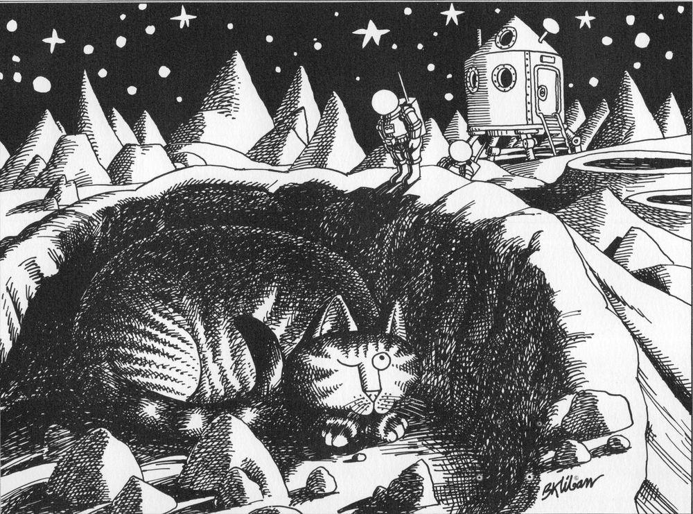 Vintage B Kliban Cats CAT ASTRONAUT MOON Art Print Funny Cat Wall