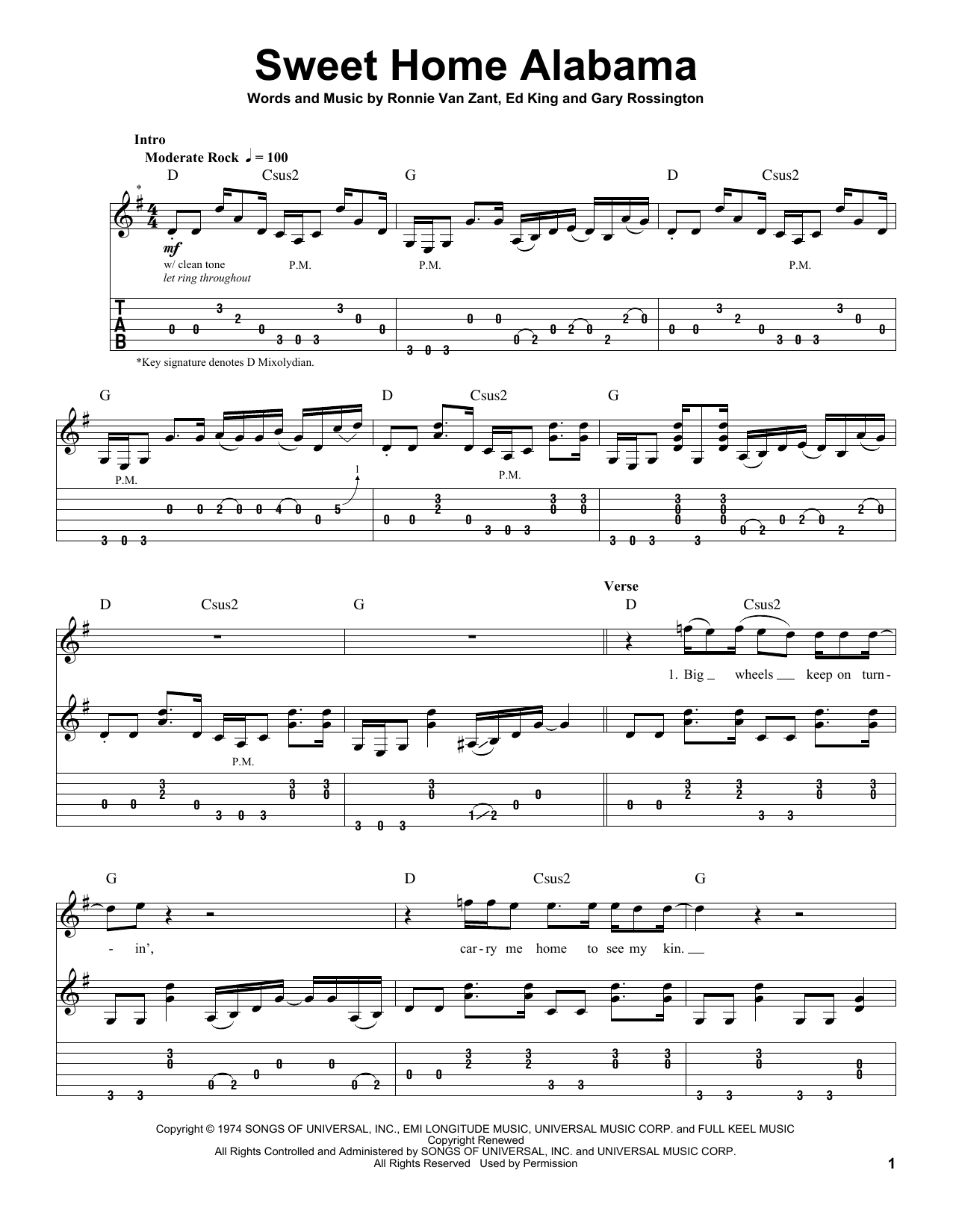 Sweet home alabama by lynyrd skynyrd guitar tab play along jazz hexwebz Image collections