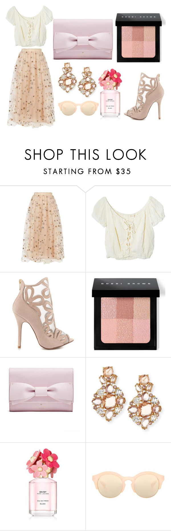 """""""I'm Back"""" by unknown-girl88 ❤ liked on Polyvore featuring Valentino, Jens Pirate Booty, Chinese Laundry, Bobbi Brown Cosmetics, Kate Spade, Marc Jacobs and Le Specs Luxe"""