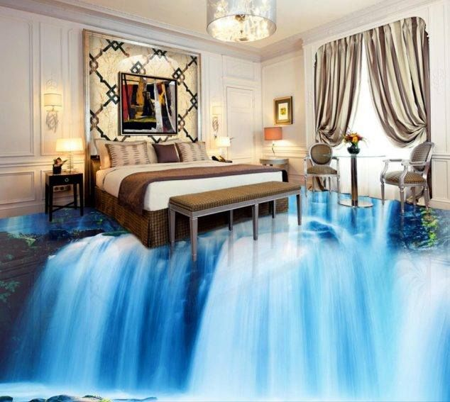 Water Fall 3d Art Floor Painting Design For Small Bed Room