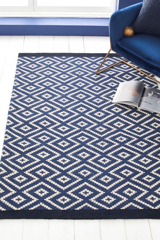 Next Geo Diamond Navy Rug Blue Navy Rug Rugs Rugs On Carpet