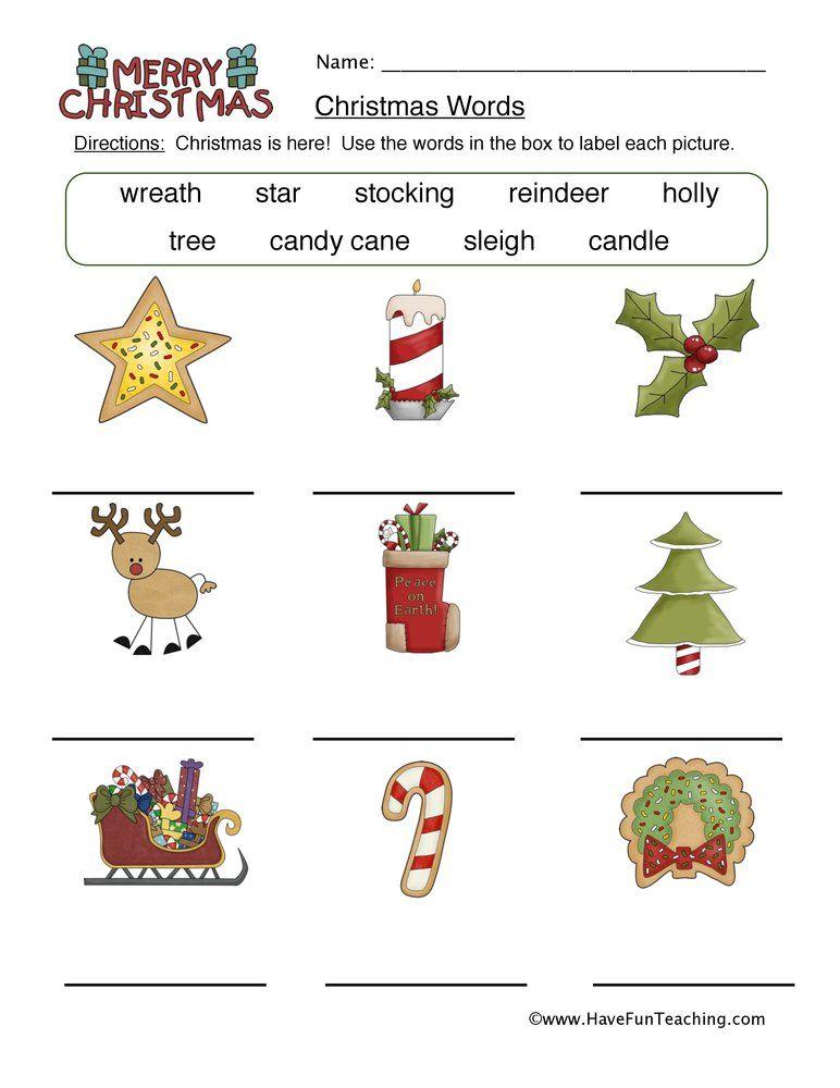 Christmas Worksheets Have Fun Teaching Christmas Worksheets Christmas Words Christmas Kindergarten Christmas worksheets matching words pictures