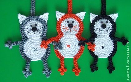 "Bookmark cat crochet pattern by Zabelina Amigurumi LittleOwlsHut Закладки для книг ручной работы. Ярмарка Мастеров - ручная работа ""Кот Батон"" вязаная закладка. Handmade."