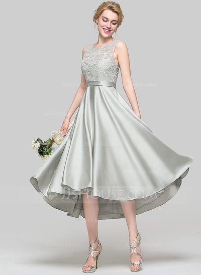 [US$ 107.49] A-Line/Princess Scoop Neck Asymmetrical Satin Bridesmaid Dress With Sequins