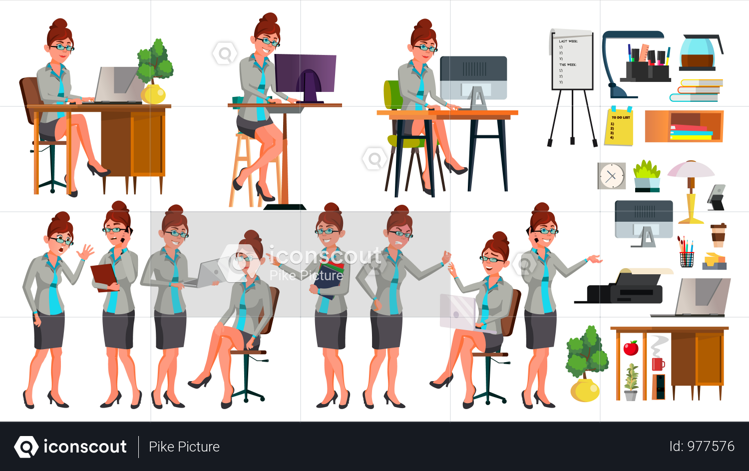 Premium Businesswoman Working In Office Illustration Download In Png Vector Format Business Women People Illustration Illustration