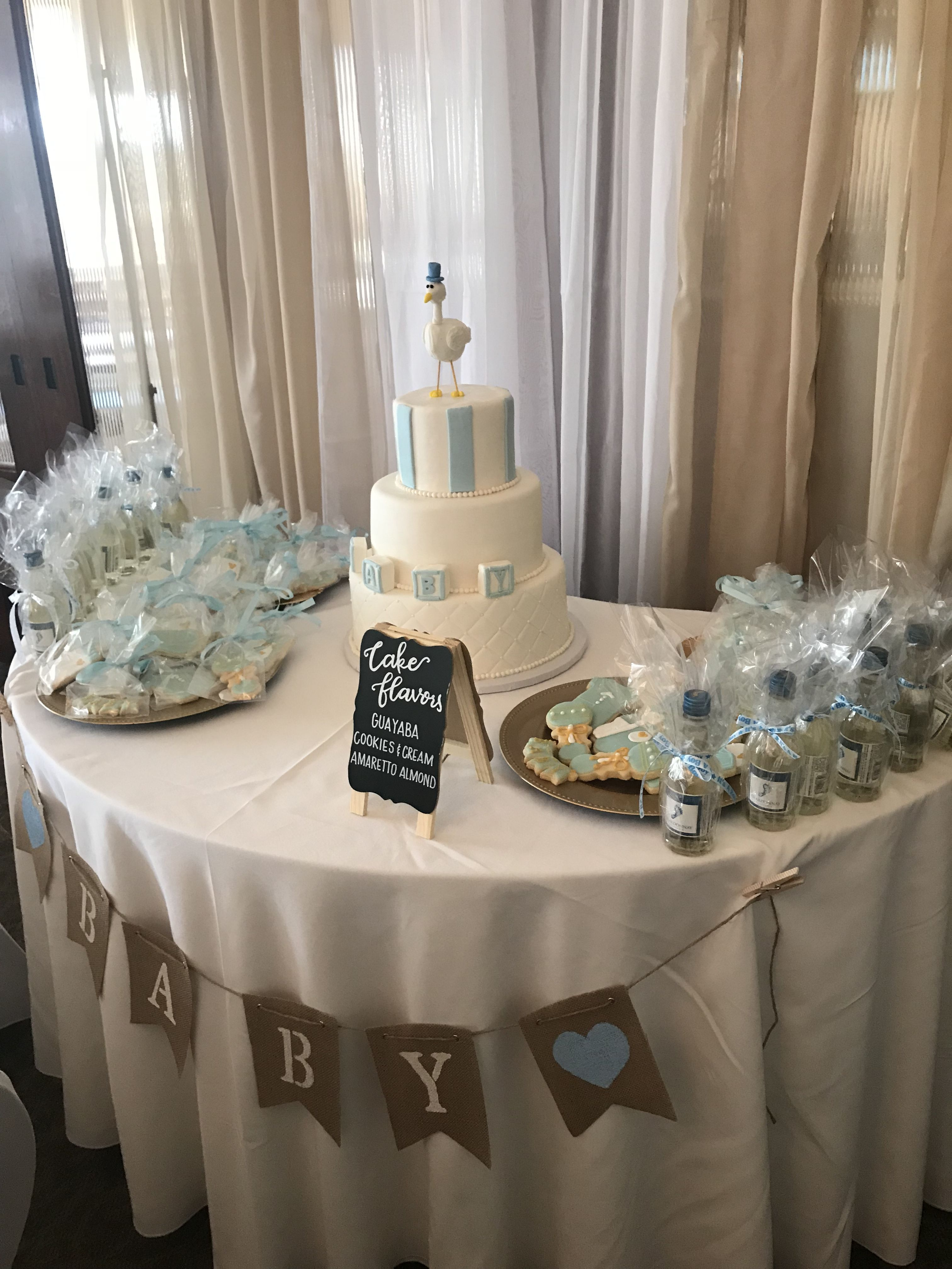 baby blue stork and baby block baby shower cake in tampa