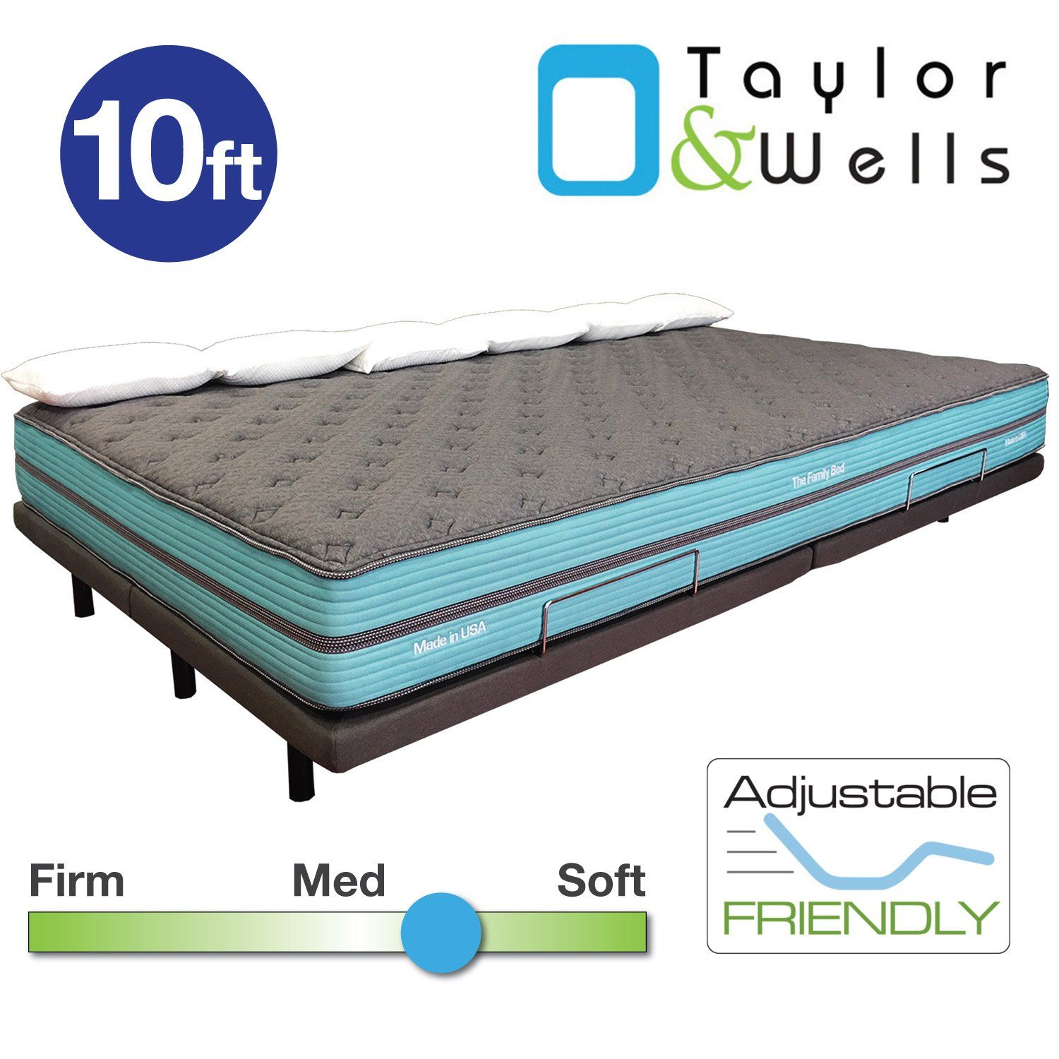 The Family Bed 10 Foot Gel Memory Foam Mattress Family Bed Mattress Memory Foam Mattress Cover