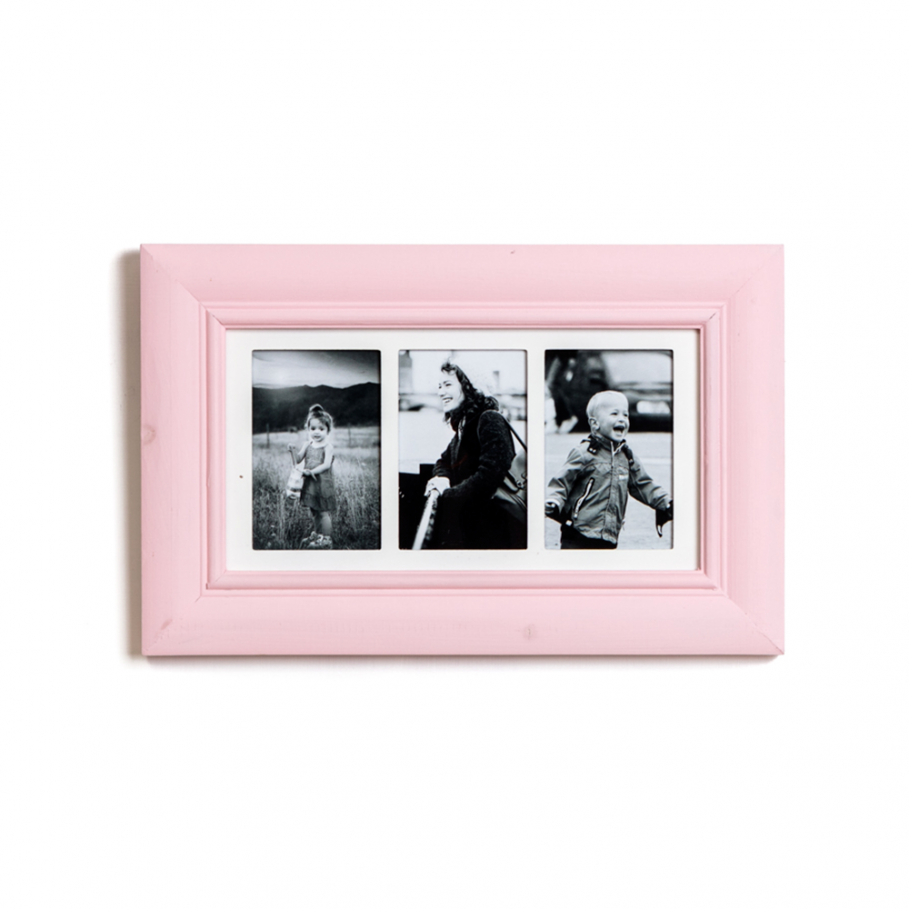 Three Aperture Rose Pink Multi Photo Frame. Measurements: 29cm x ...