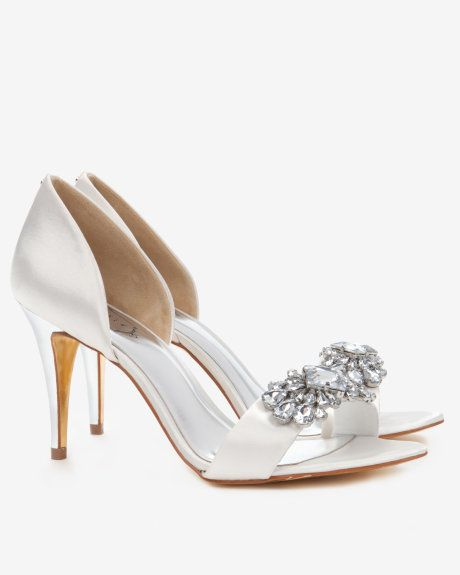 08218283a07 Embellished cut out court shoes - Ivory