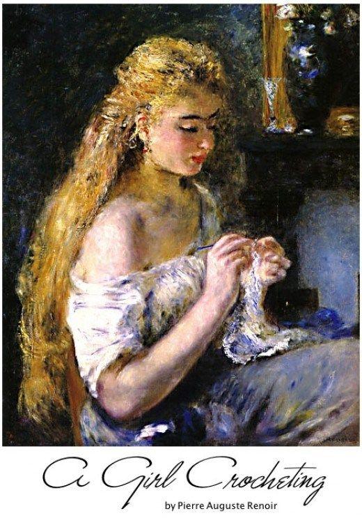 A Girl Crocheting by Pierre Auguste Renoir- <3