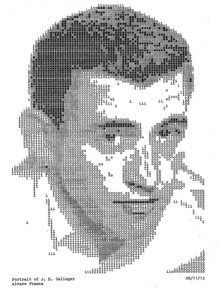 Le projet « Typewritten Portraits » de l'artiste et graphic designer brésilien Alvaro Franca, qui utilise une vieille machine à écrire pour taper lettre par lettre les portraits de ses écrivains favoris, afin de rendre hommage à ces auteurs qui travaillaient eux aussi avec ces machines…