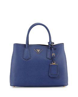 bda03e1cf Prada Saffiano Cuir Doble pequeña bolsa, azul marino (Inchiostro ...