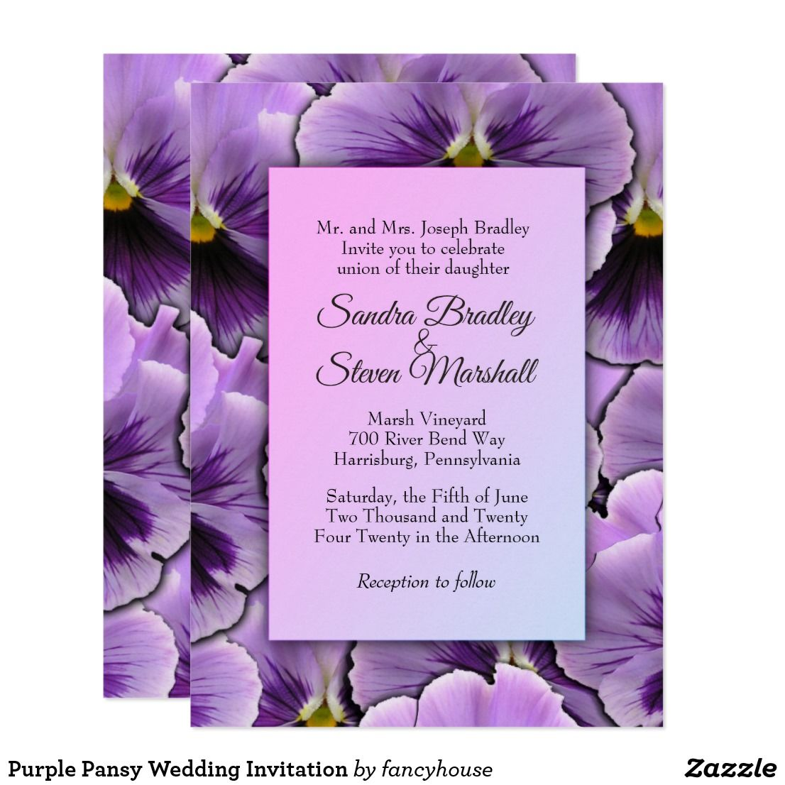 Purple Pansy Wedding Invitation