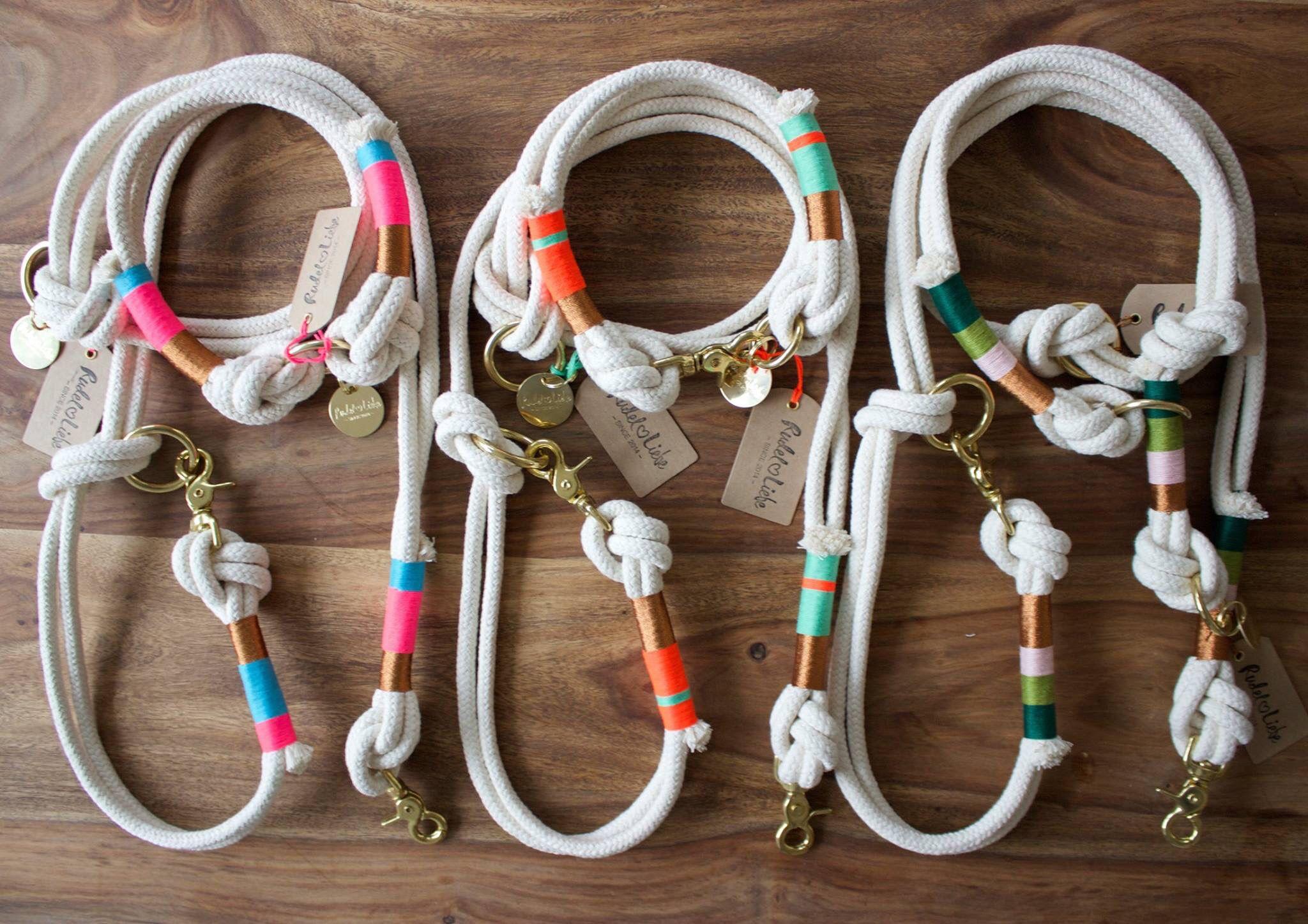Hundeleinen und Hälsbänder aus Tauwerk www.rudelliebe.de #hund #hunde…