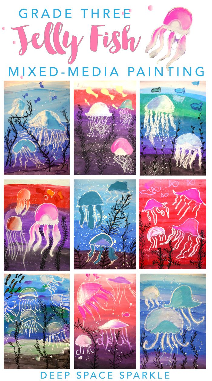 Jellyfish art project for boys and girls super easy drawing painting project from deep space sparkle