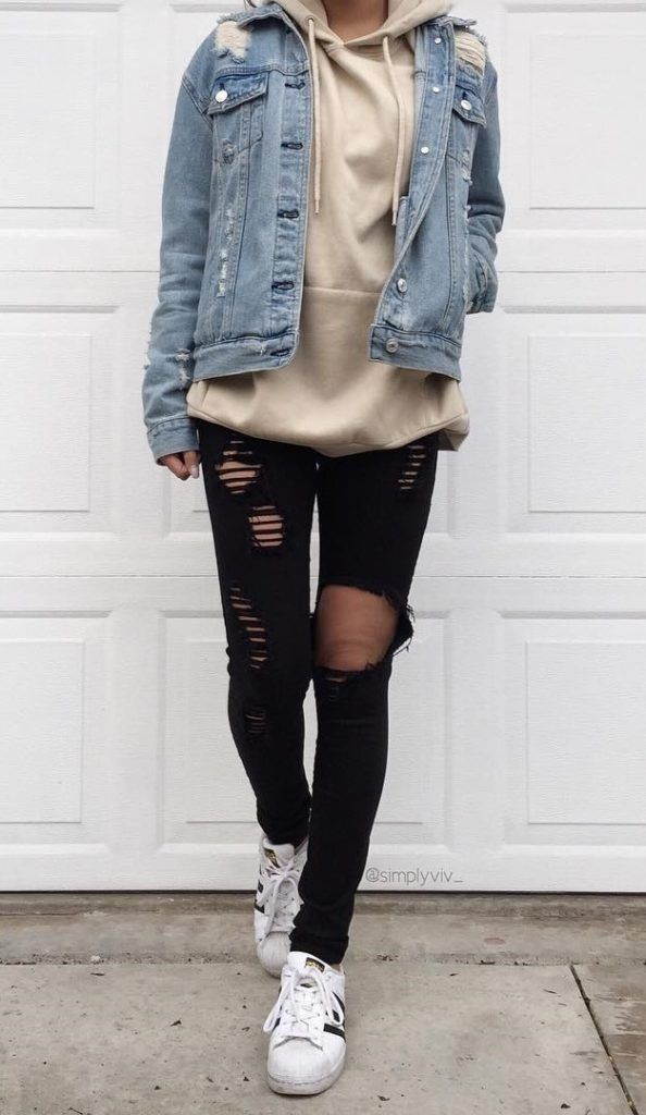 34 Outfit Ideas for this Spring #jeanjacketoutfits