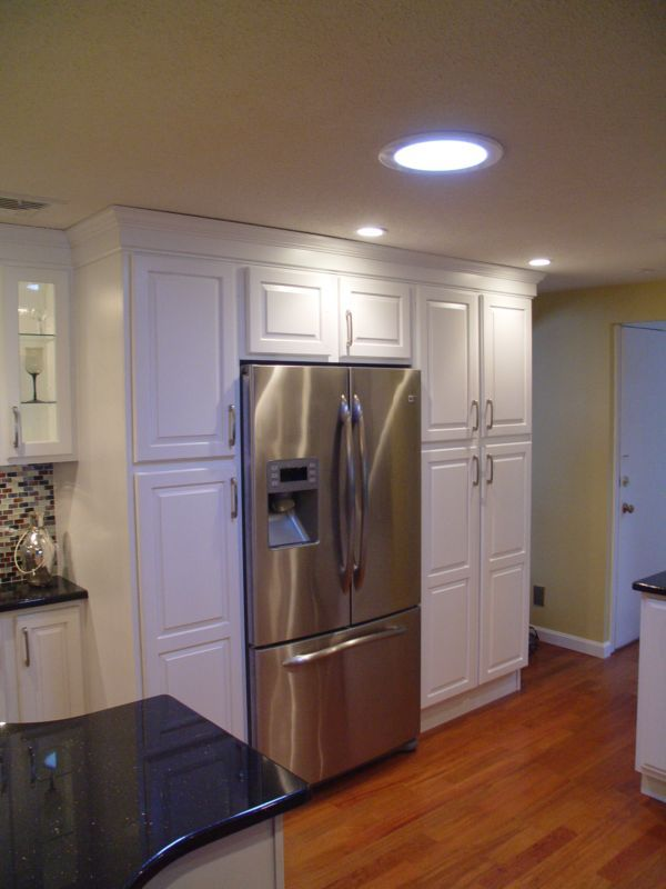 Boxed In Fridge With Extra Pantry Cabinets Kitchen Ideas