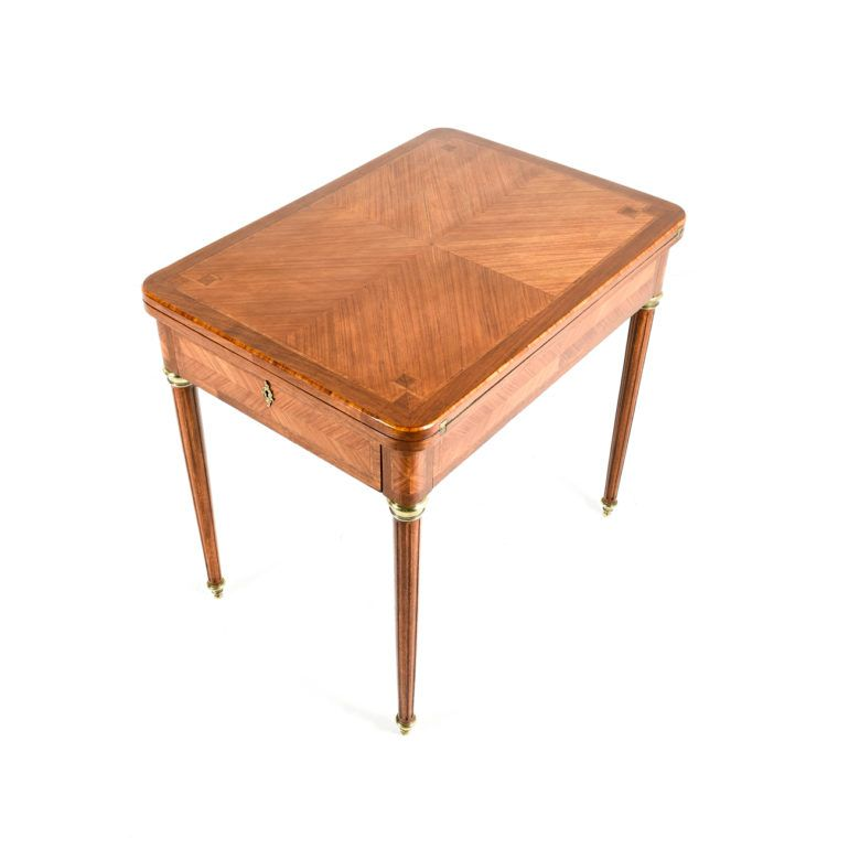 Louis XVI Style Kingwood Fold Out Games Table, Circa Wide X Deep X Tall.