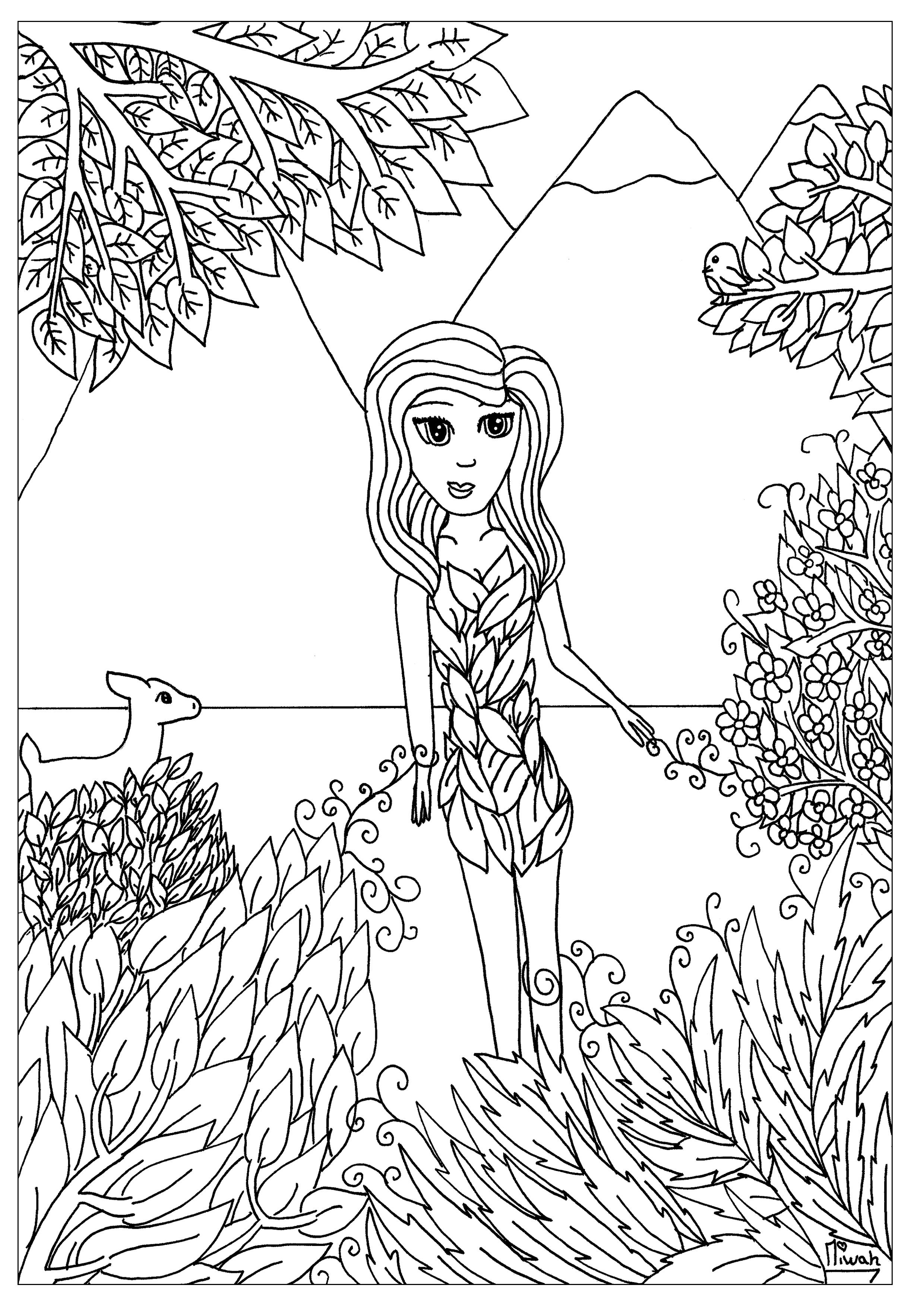 Flower Girl Zen And Anti Stress Coloring Pages For Adults Just
